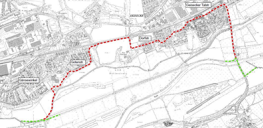 Ruhrtalradweg zwischen Wellenbad und Gut Ruhrfeld gesperrt
