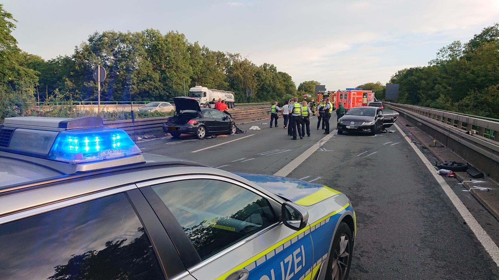 Vier Verletzte: Zwei Unfälle auf A45 sorgten für lange Sperrung