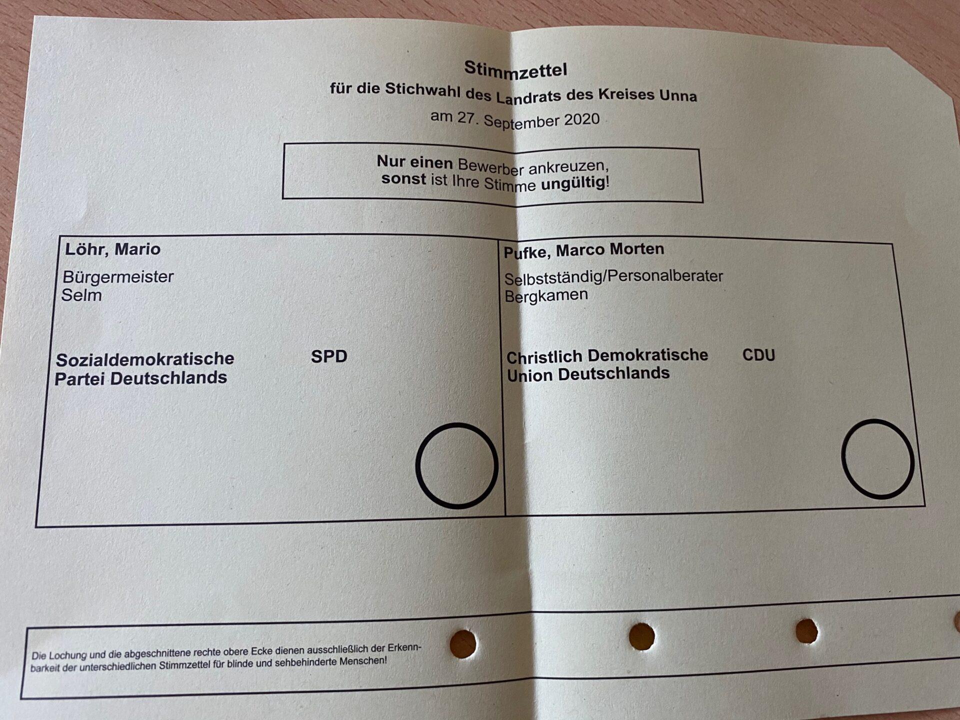 Stichwahl zum Landrat: Briefwahl möglich
