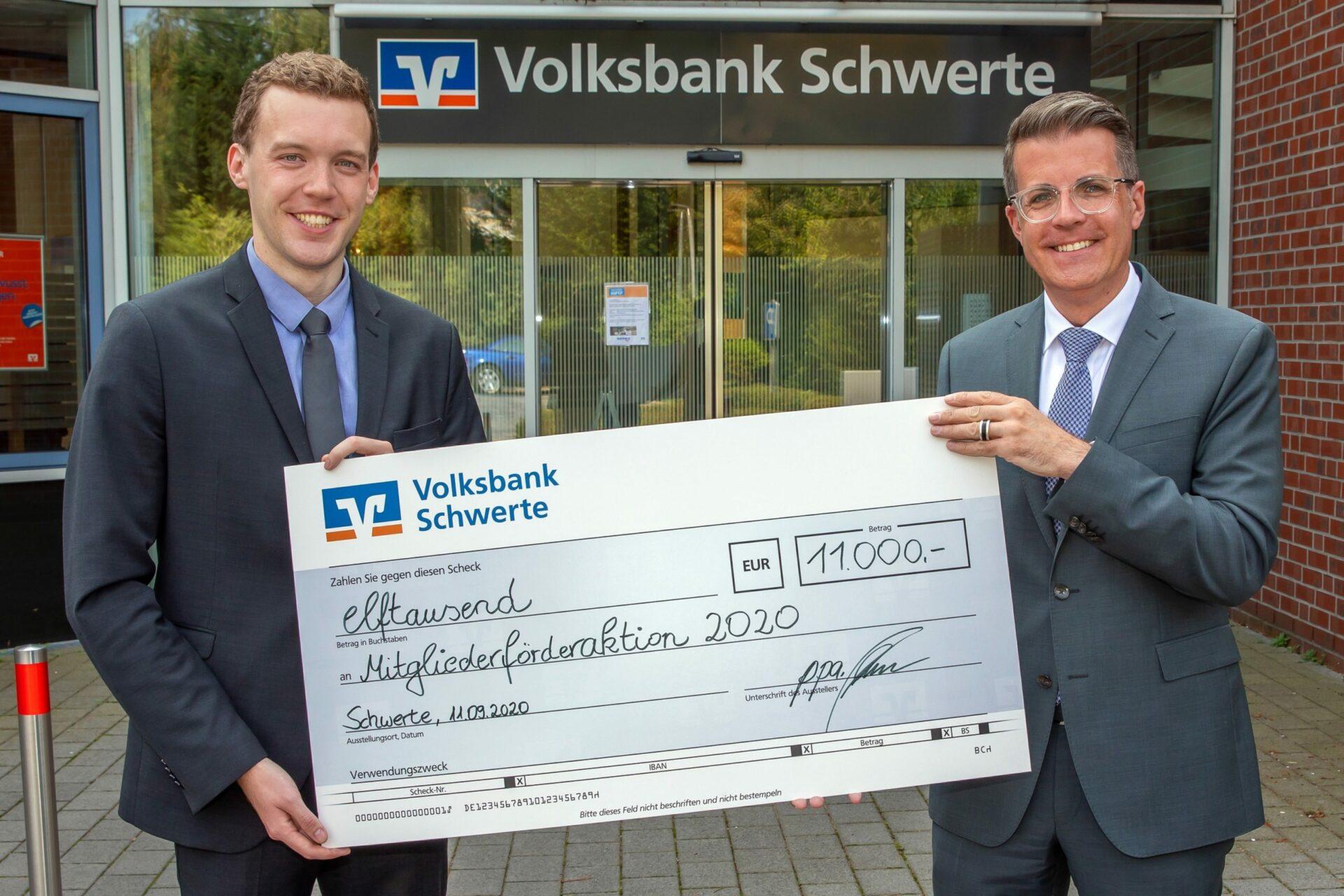 Mitgliederförderaktion: Volksbank spendet 11.000 Euro